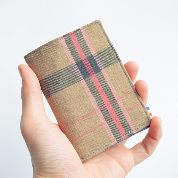 Portofel TALL·ON din textil maro deschis tartan